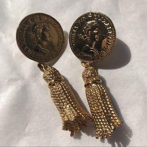 Vintage Anne Klein Gold Tone Coin Tassel Earrings